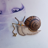 DAY 13 - A SNAIL WALKING HIS PET BEE Handmade Fabric Brooch - Triangle of Bears
