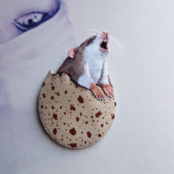 DAY 15 - HOWLING EGG MOUSE Handmade Fabric Brooch - Triangle of Bears