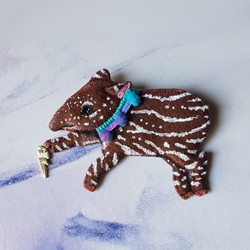 DAY 17 - BABY LIGHTNING TALISMAN TAPIR Handmade Fabric Brooch - Triangle of Bears