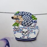 DAY 21 - BLUE PANGOLIN PLANT Handmade Fabric Necklace - Triangle of Bears