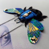 DAY 23 - BLUE CARPENTER BEE Handmade Fabric Necklace - Triangle of Bears