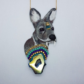 DAY 30 - MUSK DEER FOREST PRINCE Handmade Fabric Necklace - Triangle of Bears