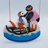 DAY 29 - PINGU TAKES PINGA FISHING Handmade Fabric Necklace - Triangle of Bears
