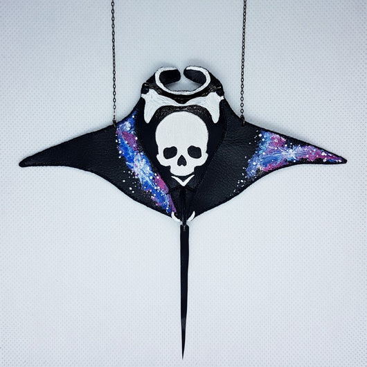 DAY 32 - GALAXY MANTA RAY Handmade Fabric Necklace - Triangle of Bears