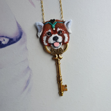 DAY 1 - RED PANDA KEY Handmade Fabric Necklace - Triangle of Bears