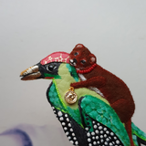 DAY 10 - WEASEL RIDING WOODPECKER TRANSPORT Handmade Fabric Brooch - Triangle of Bears