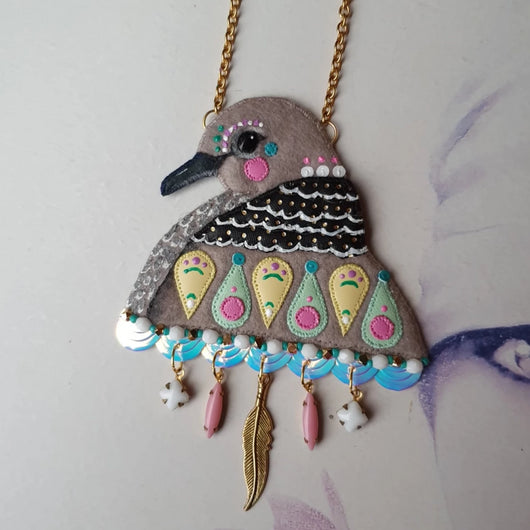 DAY 11 - RAINBOW CANDY SPOTTED DOVE Handmade Fabric Necklace - Triangle of Bears