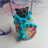 DAY 13 - BABY BAT BURRITO Handmade Fabric Necklace - Triangle of Bears