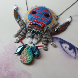 DAY 14 - CRYSTAL-WIELDING PEACOCK SPIDER Handmade Fabric Necklace - Triangle of Bears