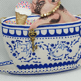DAY 16 - TEACUP PIGLET EATING ICE-CREAM IN A TEACUP Handmade Fabric Necklace - Triangle of Bears