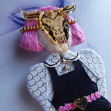DAY 19 - GOLDEN MASK MYSTERY GIRL Handmade Fabric Brooch - Triangle of Bears
