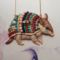 DAY 22 - BEADED-ARMOUR ARMADILLO Handmade Fabric Necklace - Triangle of Bears