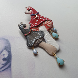 DAY 24 - MUSHROOM LLAMAS IN A RAINSTORM Handmade Fabric Brooch - Triangle of Bears