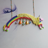 DAY 25 - LADY RAINICORN & HER RAINBOW RAINDROP GEM COLLECTION Handmade Fabric Necklace - Triangle of Bears