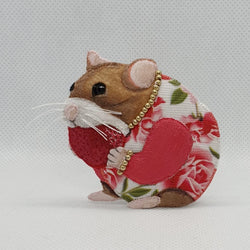 DAY 29 - HAMSTER EATING A STRAWBERRY Handmade Fabric Brooch - Triangle of Bears