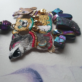 DAY 31 - ANIMAL KINGDOM SPIRIT STONES Handmade Fabric Necklace - Triangle of Bears