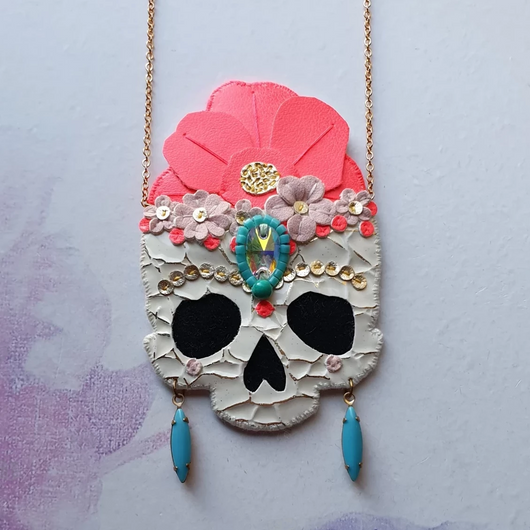 FRIDA SKULL Handmade Fabric Necklace - Triangle of Bears
