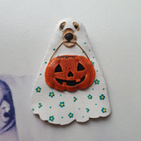 TRICK-OR-TREATING DOGGO Handmade Fabric Brooch - Triangle of Bears