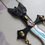 ENCHANTED BLACK CAT DAGGER Handmade Fabric Necklace - Triangle of Bears