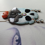 DAY 8 - KOALAWEEN SKULL Handmade Fabric Necklace - Triangle of Bears