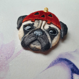 DAY 9 - PUG PUPPY IN A HALLOWEEN HAT Handmade Fabric Brooch - Triangle of Bears