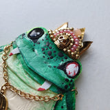 DAY 10 - VAMPIRE FROG PRINCE Handmade Fabric Necklace - Triangle of Bears