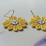 SUN-SPIRIT LION FLOWERS Handmade Fabric Earrings - Triangle of Bears
