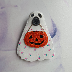 TRICK-OR-TREATING PUPPY Handmade Fabric Brooch - Triangle of Bears