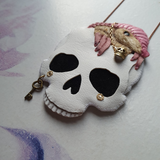 SKULL-GUARDIAN FAIRY ARMADILLO Handmade Fabric Necklace
