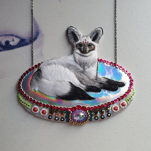 DAY 1 - ROYAL BAT-EARED FOX PRINCE Handmade Fabric Necklace - Triangle of Bears