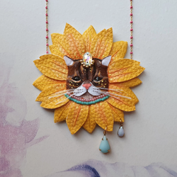 DAY 6 - SUNFLOWER KITTEN Handmade Fabric Necklace - Triangle of Bears