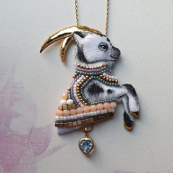 DAY 5 - BEADED SWEETHEART GOAT Handmade Fabric Necklace - Triangle of Bears