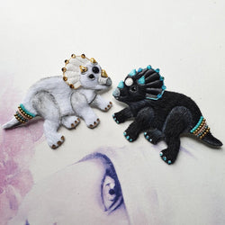 DAY 14 - DUALING YIN-YANG TAOCERATOPS TWINS Handmade Fabric Brooches (Sold Separately) - Triangle of Bears