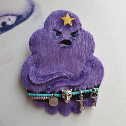 DAY 16 - GRUMPY LUMPY SPACE WARRIOR-PRINCESS Handmade Fabric Brooch - Triangle of Bears