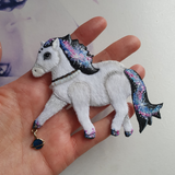 DAY 17 - GALAXY-TAIL SPACE PONY Handmade Fabric Necklace - Triangle of Bears