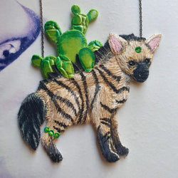 DAY 18 - CACTUS-BACK AARDWOLF CUB Handmade Fabric Necklace - Triangle of Bears