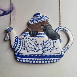DAY 22 - PLAT-TEA-PUS IN A TEA-POT Handmade Fabric Necklace