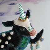 DAY 25 - MYSTICAL OCEAN PEARL-BACK MOONICORN CAMAHUETO Handmade Fabric Brooch