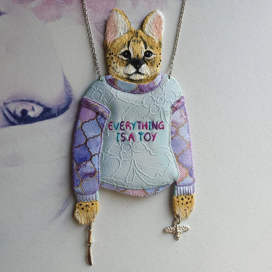 DAY 27 - PLAYFUL SERVAL BOY IN HIS NEW SWEATER Handmade Fabric Necklace - Triangle of Bears