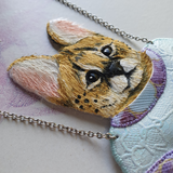 DAY 27 - PLAYFUL SERVAL BOY IN HIS NEW SWEATER Handmade Fabric Necklace