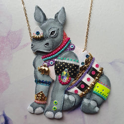 DAY 31 - REBELLIOUS PUNK-ROCK BABY RHINOCEROS Handmade Fabric Necklace