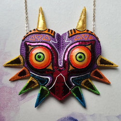 DAY 32 - THE MASK OF MAJORA FROM THE LEGEND OF ZELDA Handmade Fabric Necklace