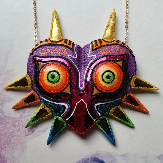 DAY 32 - THE MASK OF MAJORA FROM THE LEGEND OF ZELDA Handmade Fabric Necklace - Triangle of Bears