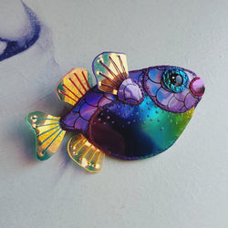MAGICAL RAINBOW PUFFER FISH Handmade Fabric Brooch