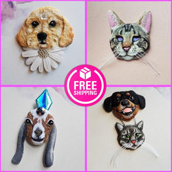 CUSTOM PET PORTRAIT Handmade Fabric Jewellery (Made To Order)