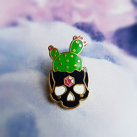 Black Cactus Skull - Hard Enamel Pin - Triangle of Bears