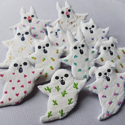MYSTERY GHOST - Spirit Animal Fabric Brooch - LUCKY Dip - Triangle of Bears