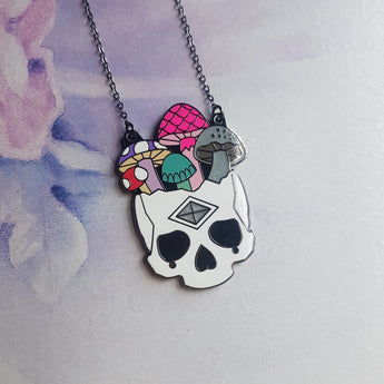 BLACK MUSHROOM SKULL Hard Enamel Necklace - Triangle of Bears
