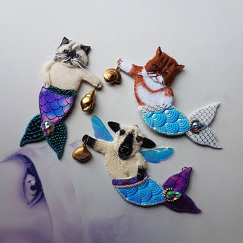 CUSTOM PET MERMAID Handmade Fabric Jewellery (Made To Order) - Triangle of Bears