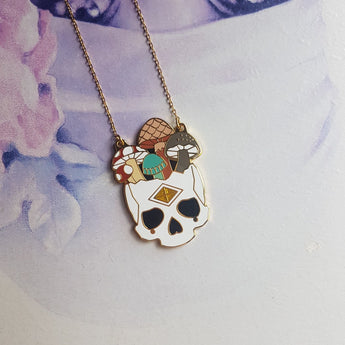 GOLD MUSHROOM SKULL Hard Enamel Necklace - Triangle of Bears